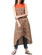 Orange Cotton Printed  High-low Kurta - By