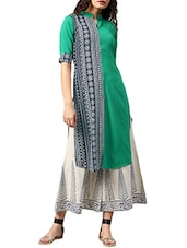 green crepe printed  straight kurta -  online shopping for kurtas