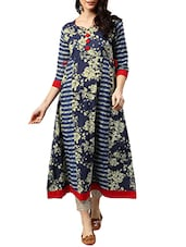 Blue Cotton Printed  A-line Kurta - By