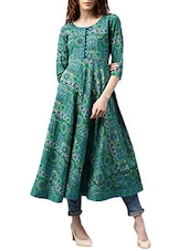 Green Cotton Printed A-line Kurta - By