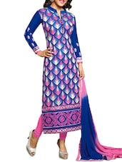 Blue And Pink Embroidered Suit Set - By