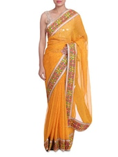 Yellow Lehariya Georgette Saree With Embroidered Border - By