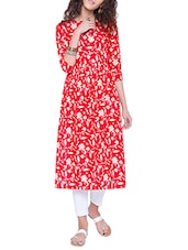Red Cotton Printed A-line Kurta - By