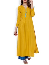 Yellow Rayon Plain Long Kurta - By