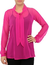 Candy Pink Full Sleeved Georgette Top - By