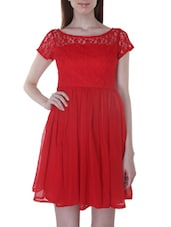 Solid Red Georgette Laced Mini Dress - By
