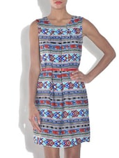 Blue And Red Polyester Printed Sleeveless Top - By