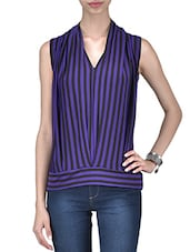 Purple And Black Polyspandex Striped Top - By