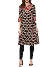 black cotton block printed angrakha -  online shopping for kurtas
