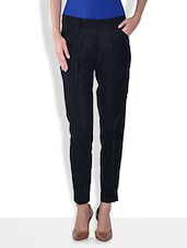 Navy Blue Polyviscose Formal Pants - By