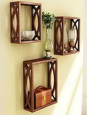 Woodkartindia Brown Wooden Wall Shelves Set of 3 -  online shopping for Wall Shelves