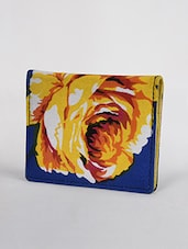 Yellow Floral Printed Canvas Card Holder - By