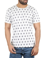 white cotton printed t-shirt -  online shopping for T-Shirts