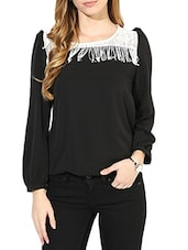 Black Crepe Top With A Lace Fringed Yoke - By