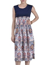 Multicolor Cotton Blended Printed Dress - By