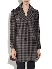 Brown Wool Blend  Checkered Long Sleeves Coat - By