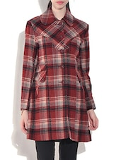 Red Wool Blend  Checkered Long Sleeves Coat - By