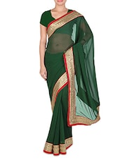 Green Faux Georgette Plain Gota Patti Bordered Saree - By