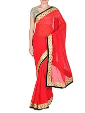 Red Faux Georgette Plain Mirror Worked Saree - By
