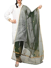 Resham And Zari Work Green  Banarasi Woven Dupatta - By