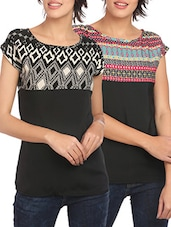 set of 2 black printed crepe tops -  online shopping for Tops