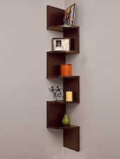 DecorNation Corner Wall Mount Shelf Zigzag Shape (Rich Walnut) -  online shopping for Wall Shelves