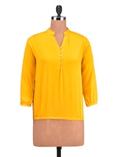 Yellow Poly Crepe Plain Top - By