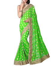 Green Viscose & Jacquard Designer Embroidered Sarees With Blouse Piece-E833SE3050AAM - By