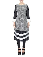 Black And Offwhite Georgette Printed Kurta - By