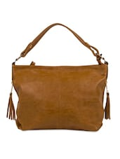 Brown Faux Leather Solids Tote Bag - By