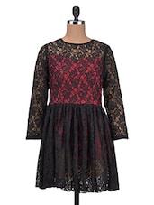 Black Cotton Lace Dress - By