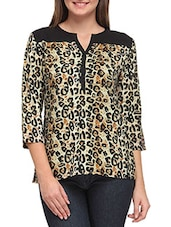 Brown Leopard Printed Quarter Sleeved Crepe Top - By