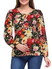 Multicolored Floral Printed Full Sleeved Crepe Top - By