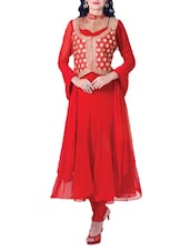 Red Embroidered Stitched Suit Set - By