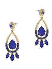 Gold And Blue Stone Drop Earings - By