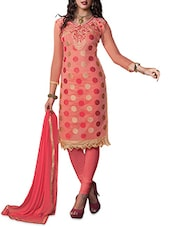 Peach Cotton Embroidered Unstitched Suit Set - By