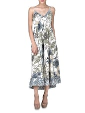Cream Cotton Printed Sleeveless Maxi Dress - By