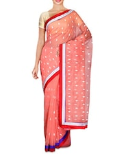 Peach Leaf Embroidered Supernet Saree - By