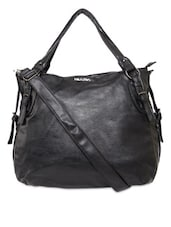 Black Synthetic Leather Handbag Cum Sling - By