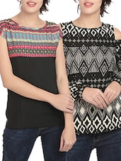 set of 2 multicolored printed crepe regular tops -  online shopping for Tops