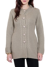 Beige Woolen Cardigan With Pockets - By
