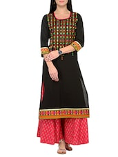 Black embroidered cotton cambric kurta and palazzo set -  online shopping for Sets