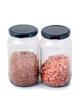 Black Glass Kitchen  Utility Jar Set - By