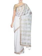 White Cotton Silk Printed Saree - By