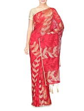 Red Cotton Silk Printed Saree - By