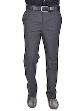grey cotton flat front trousers formal trouser -  online shopping for Formal Trousers