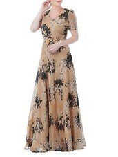 beige georgette gown -  online shopping for Dresses