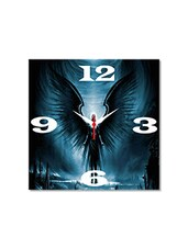 Multicolored Seasoned Wood Angel With Wings Printed Wall Clock - By