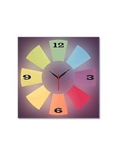 Multicolored Seasoned Wood Geometric Shapes Printed Wall Clock - By