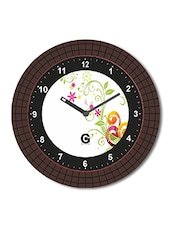 Multicolored Plastic And Glass Floral Printed Floral Printed Wall Clock - By - 1325816
